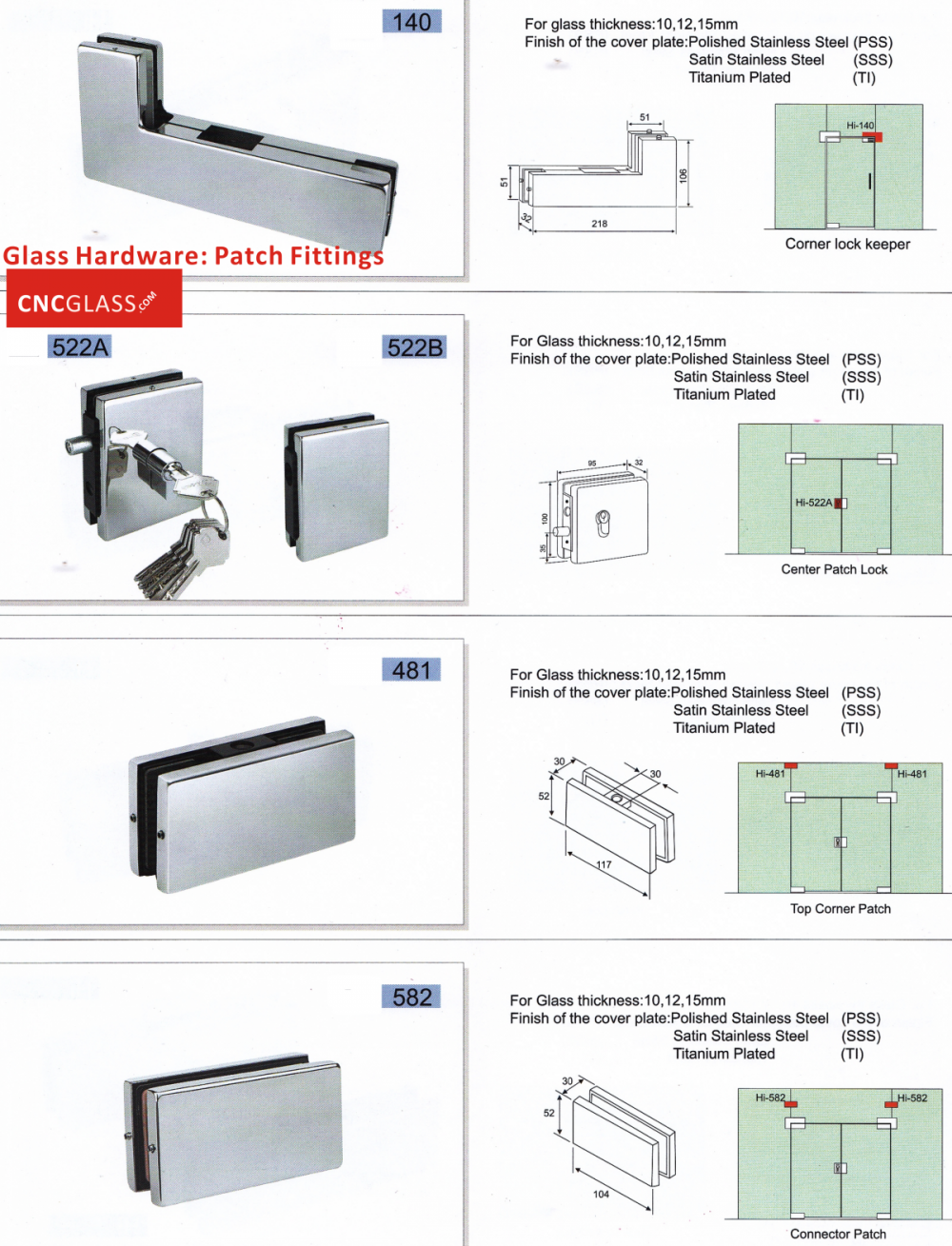 Patch Fittings Glass Hardware Door Hardware Hot Knife